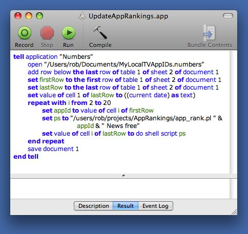 AppleScript to get the app rank and put it into Numbers